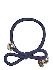 HAIR TIE WITH GOLD BEAD - NAVY - NAVY