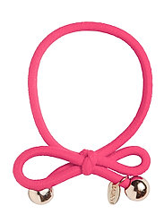 HAIR TIE WITH GOLD BEAD - HOT PINK - HOT PINK
