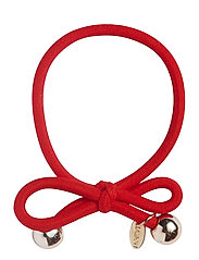 HAIR TIE WITH GOLD BEAD - RED - RED
