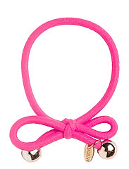 HAIR TIE WITH GOLD BEAD - NEON PINK - NEON PINK