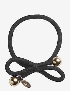 HAIR TIE WITH GOLD BEAD - BLACK - scrunchiet - black