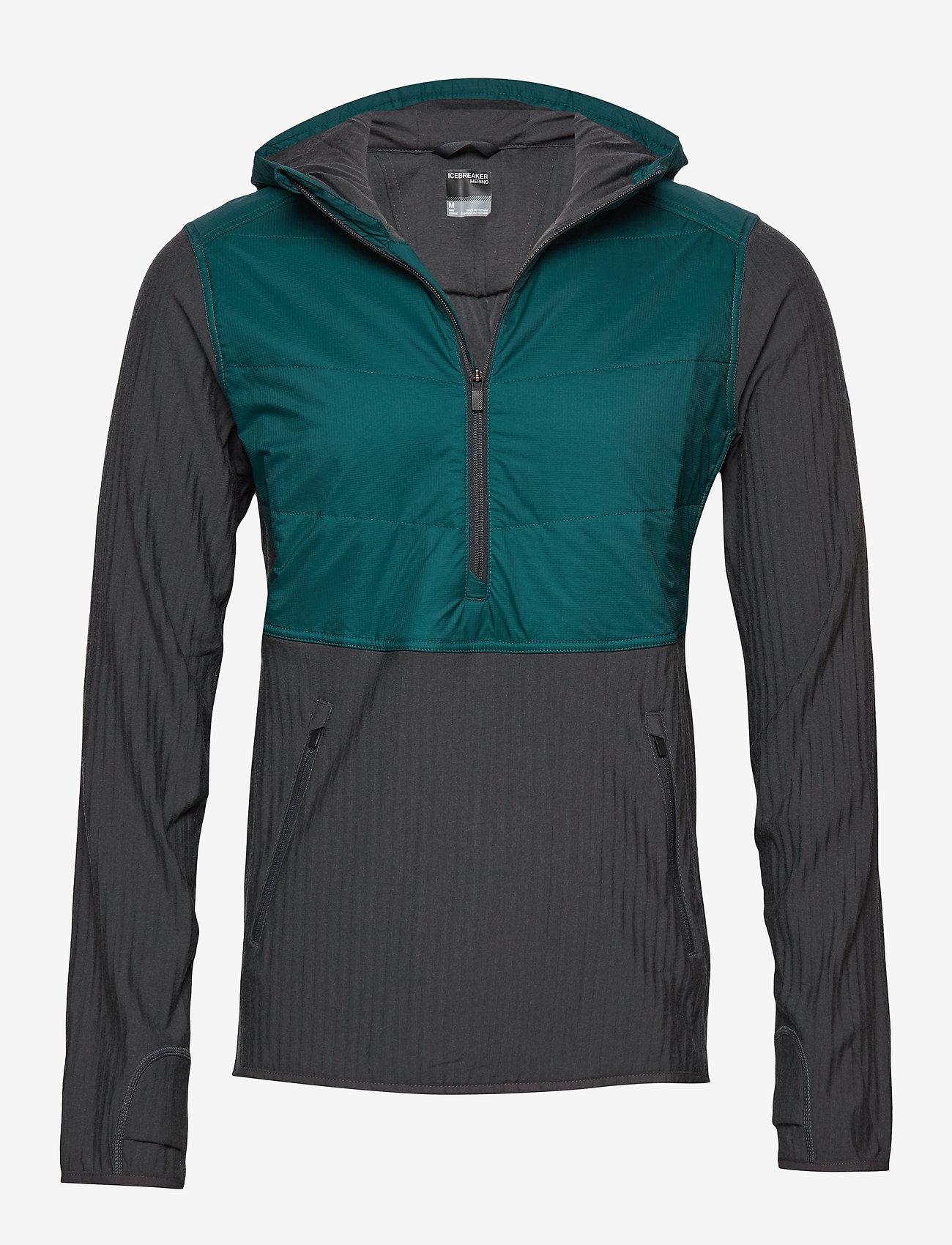 Icebreaker - Mens Descender Hybrid LS Half Zip Hood - insulated pants - poseidon/monsoon - 0