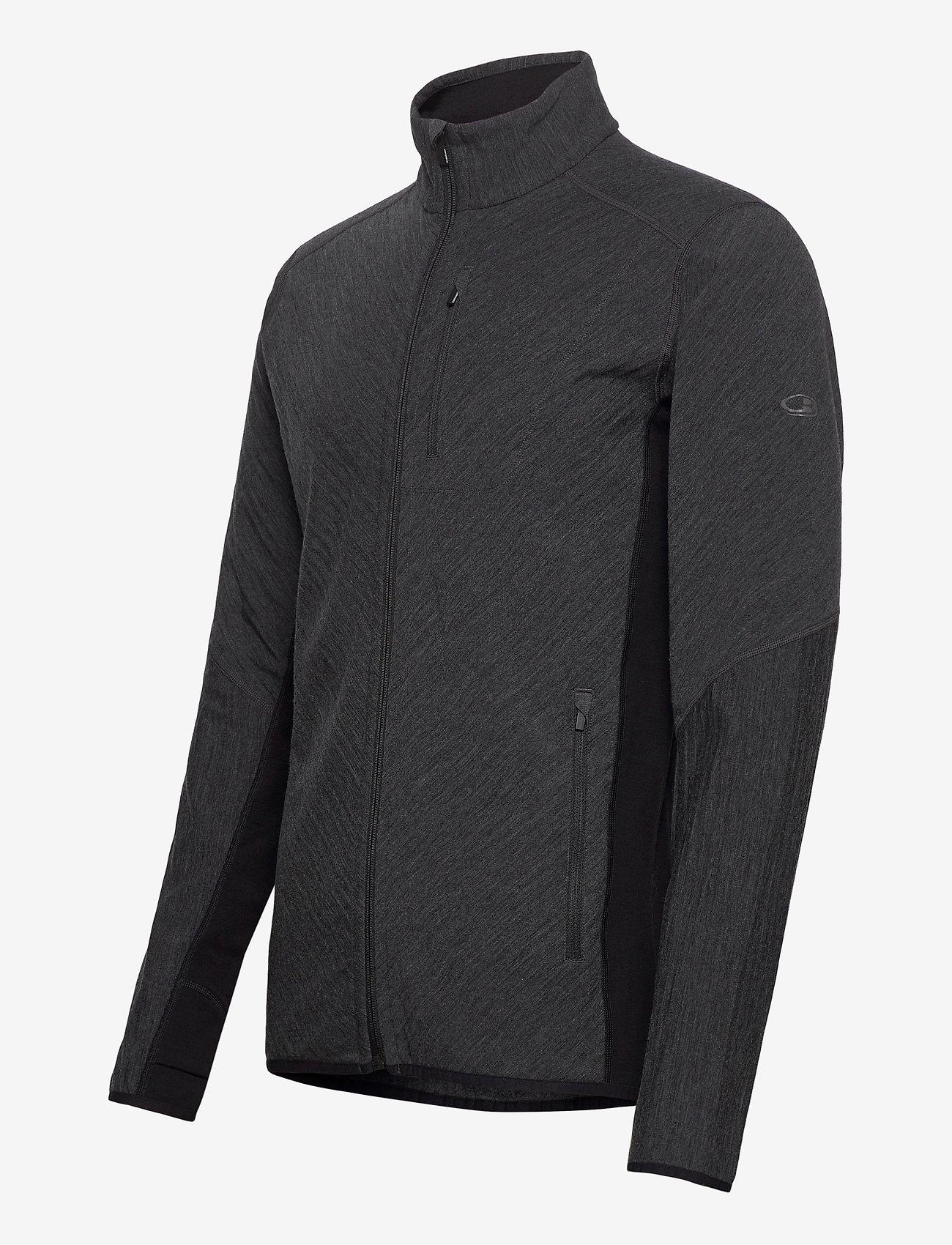 Icebreaker Mens Descender LS Zip - Sweatshirts JET HTHR/BLACK - Menn Klær