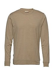 Mens Nature Dye Drayden LS Crewe - ALMOND