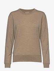 Icebreaker - Wmns Nature Dye Drayden LS Crewe - långärmade tröjor - almond - 0