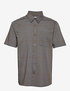 Mens Compass SS Shirt - mittlere lage aus wolle - timberwolf/tobacco/plaid