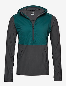 Mens Descender Hybrid LS Half Zip Hood - POSEIDON/MONSOON