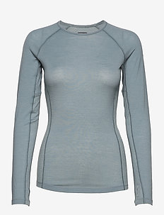 Wmns 150 Zone LS Crewe - base layer tops - gravel