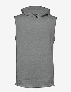 Mens Momentum Hooded Vest - FOSSIL/SNOW HTHR