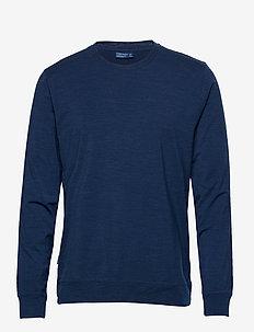 Mens Nature Dye Drayden LS Crewe - langarmshirts - true indigo dk