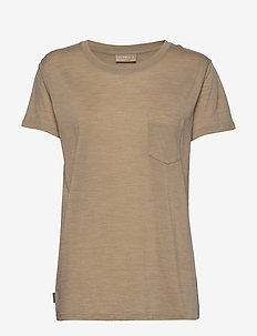 Wmns Nature Dye Drayden SS Pocket Crewe - t-shirts - almond