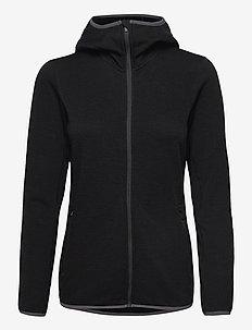 Wmns Elemental LS Zip Hood - mellomlag i ull - black