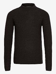 Mens Hillock Funnel Neck Sweater - podstawowa odzież z dzianiny - peat hthr