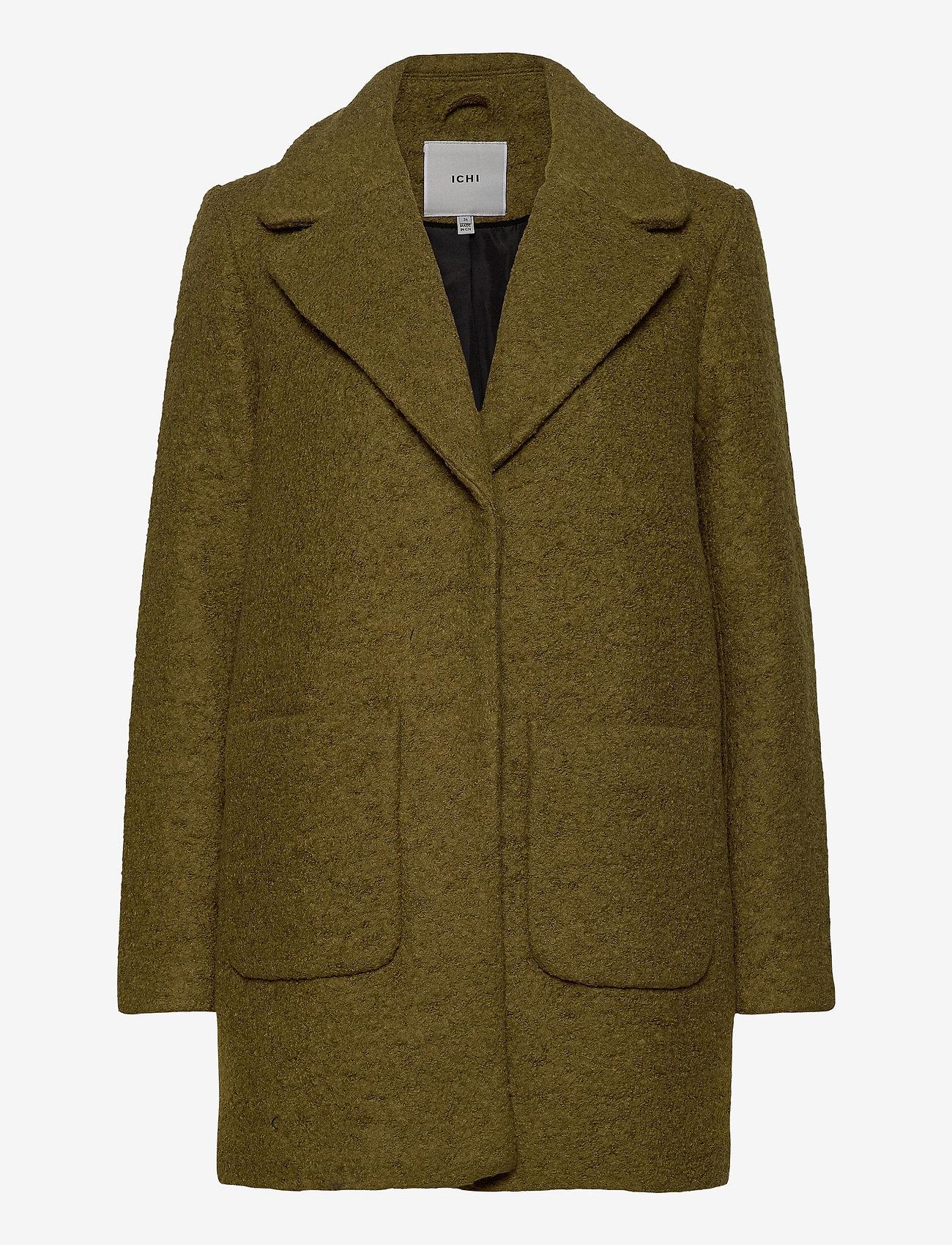 ICHI - STIPA JA - wool coats - fir green - 0