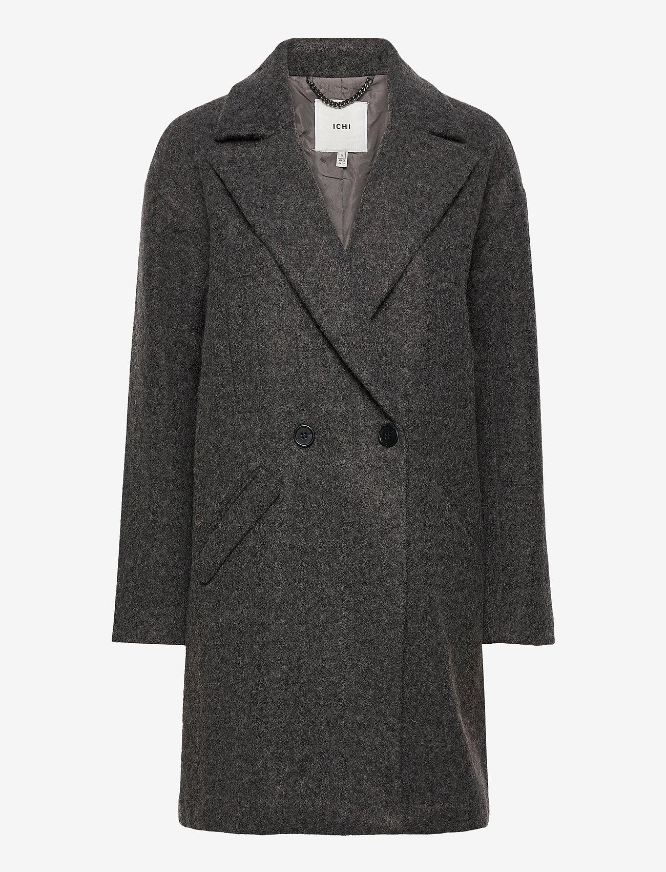 ICHI - IHHENRIKA JA - wool coats - dark grey melange - 0