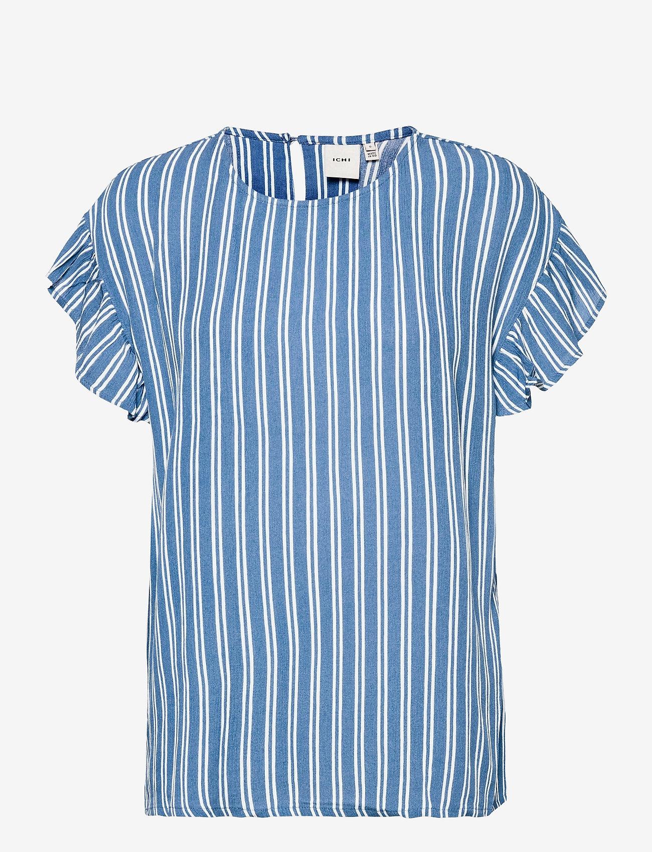 ICHI - IHMARRAKECH AOP SS4 - short-sleeved blouses - coronet blue - 0