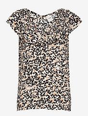 ICHI - IHMARRAKECH AOP TO3 - short-sleeved blouses - tan - 0
