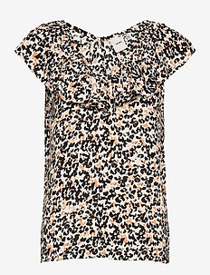 IHMARRAKECH AOP TO3 - short-sleeved blouses - tan