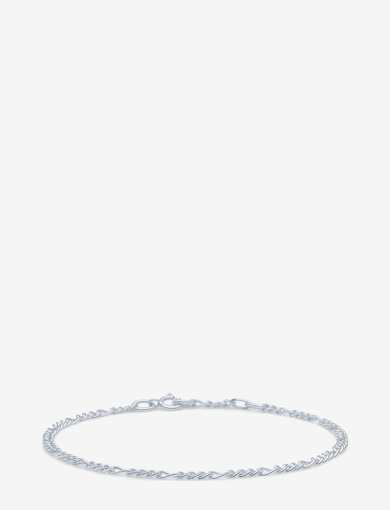 ID Fine Jewelry - Figaro Chain Bracelet - Rhodium - dainty - silver - 0