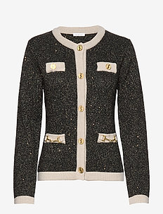 Noble Cardigan - BLACK/CREAM GOLD