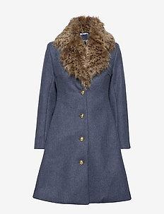 Tracey Coat - wool coats - khaki blue/leo