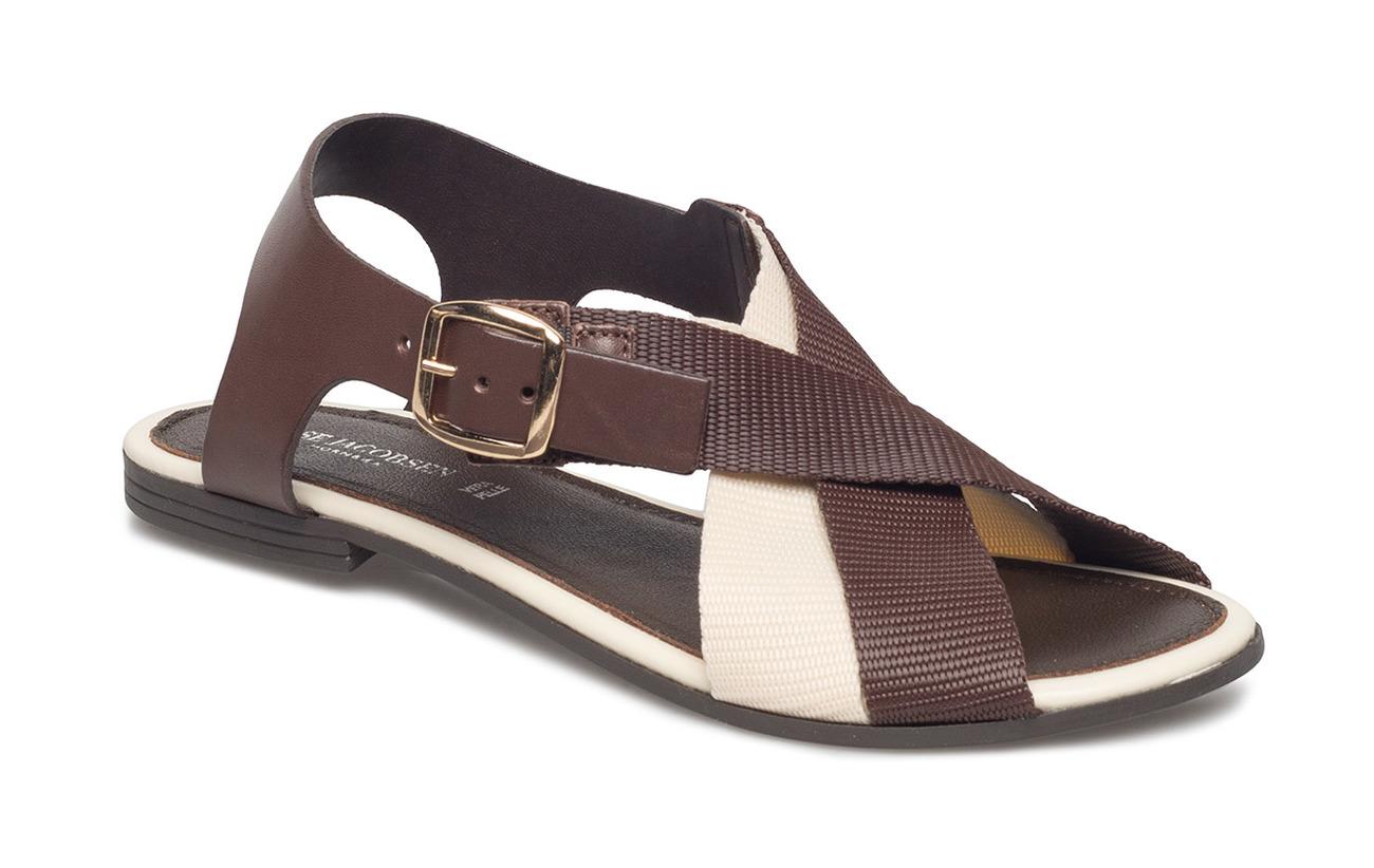 Jacobsen Chocolate Flat Ilse Cuir 50 Empeigne Sandal Textile 1UdqAqpwn