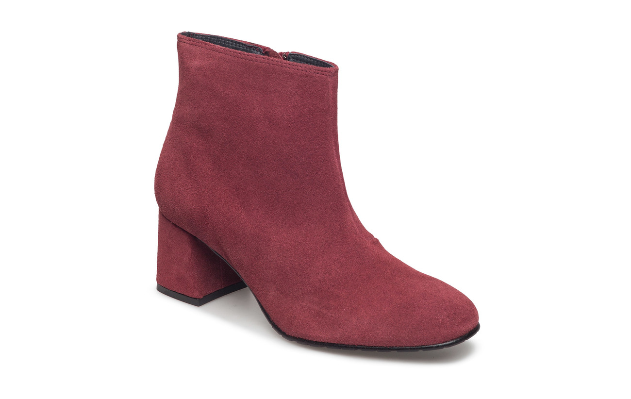 Ilse Jacobsen SUEDE ANKLE BOOT - RED PLUM