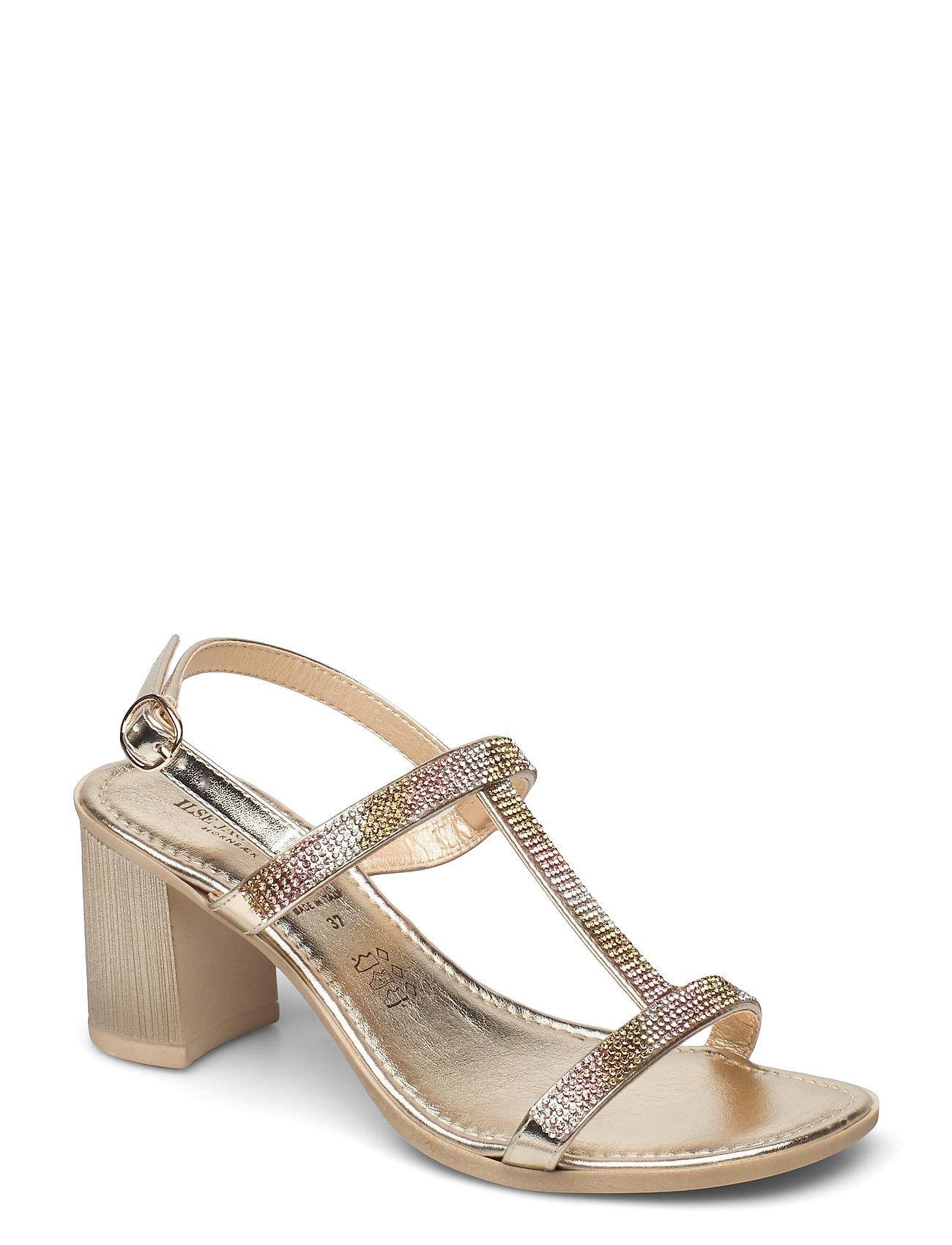High Heel Sandals Sandal Med Hæl Guld Ilse Jacobsen
