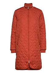 Padded Quilt Coat - BRICK RED