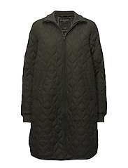 PADDED QUILT COAT - DEEP OLIVE