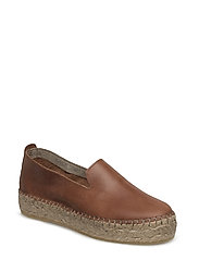 LEATHER ESPADRILLE - COGNAC