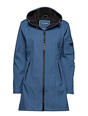 HIP-LENGTH SOFTSHELL RAINCOAT - BLUE ROCK