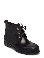 LACE-UP RUBBER BOOT - BLACK BLACK