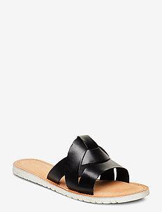 SLIP-ON SANDALS - BLACK