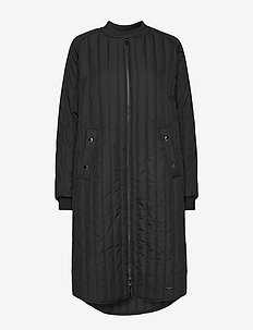 PADDED QUILT COAT - BLACK