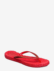 FLIPFLOP WITH GLITTER - deep red