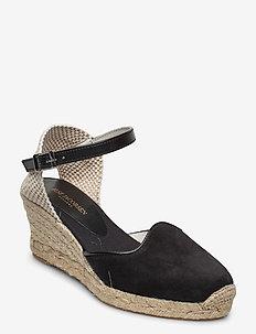 ESPADRILLE FLAT - heeled espadrilles - black