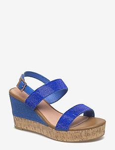 WOMENS SANDAL - espadrilles met sleehak - 671 direct blue silver