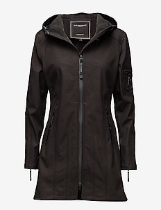 HIP-LENGTH SOFTSHELL RAINCOAT - regenkleding - black