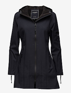 HIP-LENGTH SOFTSHELL RAINCOAT - indigo