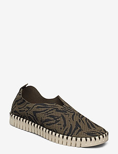 FLATS - baskets slip-on - deep olive