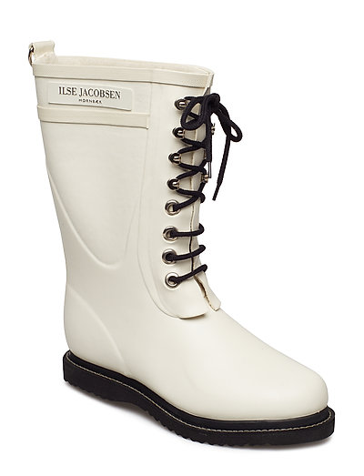 RAIN BOOT - MID CALF, CLASSIC WITH LACES - WHITE