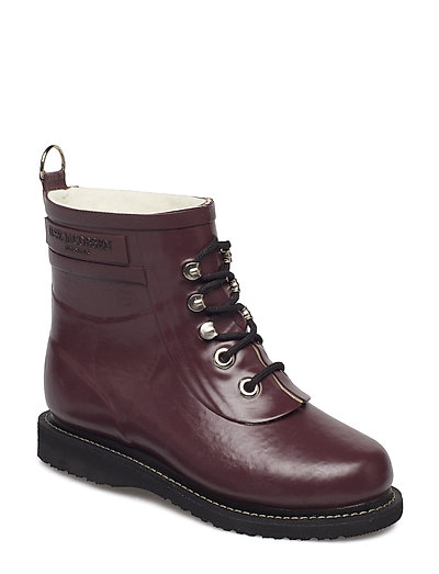 RAIN BOOT - ANKLE, CLASSIC WITH LACES - EGGPLANT