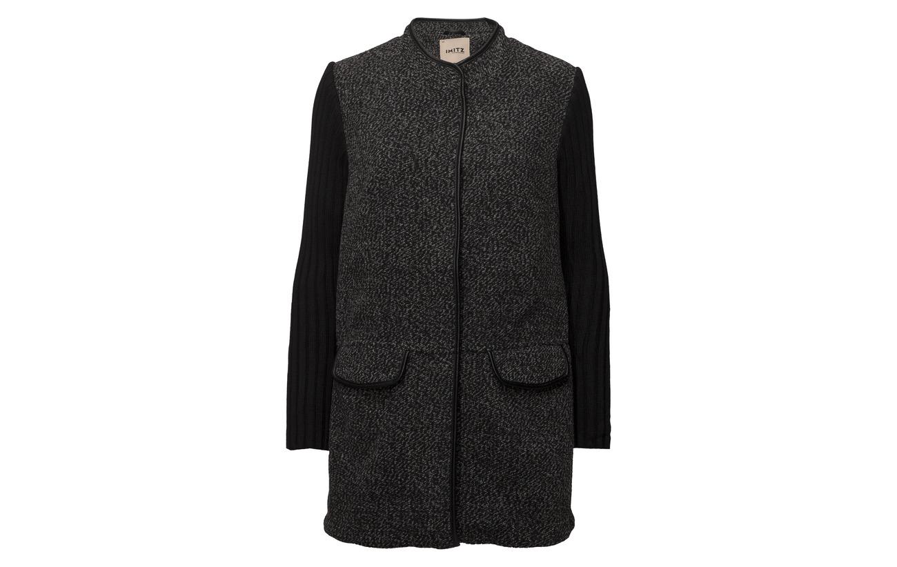 Acrylique knit 7 Mix 73 Polyamide 10 Polyester Cardigan Heavy Black Wotton 4 Imitz 6 Laine qT5xzw8I