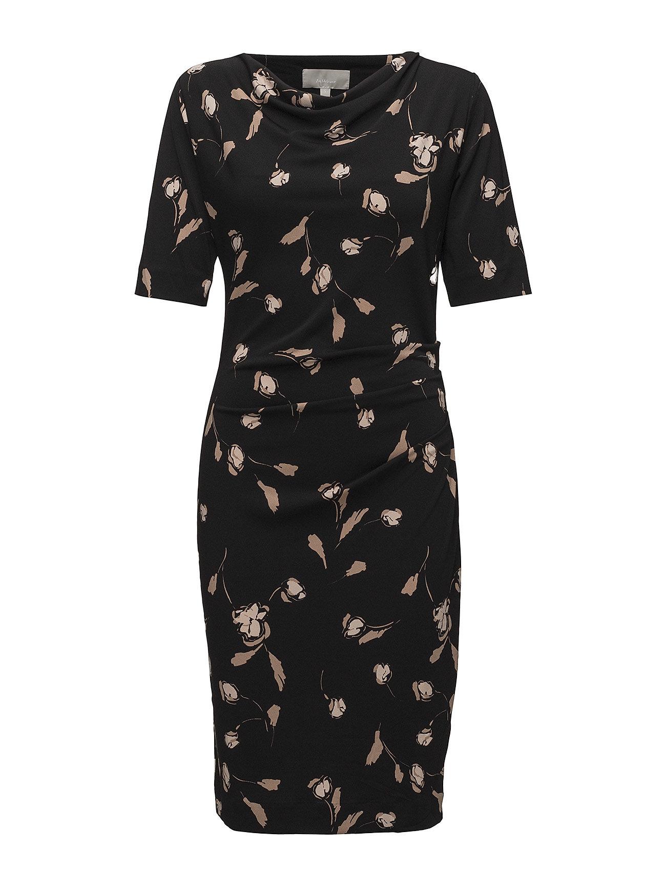 InWear Tebina Cowl Dress KNTG - SIMPLIFIED FLOWER BLACK