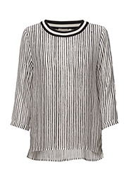 Galetta Top - HAND DRAWN STRIPES WHITE
