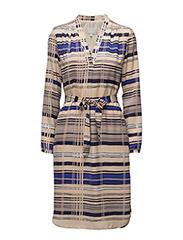 Phoebe Print Dress - JAPANESE STRIPE BLUE