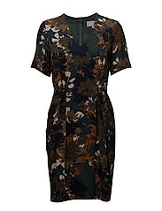 Montana Dress - AUTUMN FLOWERS GREEN