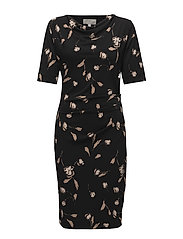 Tebina Cowl Dress KNTG - SIMPLIFIED FLOWER BLACK