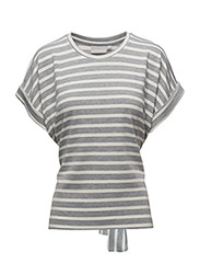 Thilda SS Top - GREY MELANGE / WHITE SMOKE